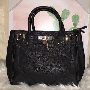 Black Just Fab faux leather Satchel purse